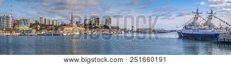 Sochi, Russia - February 23, 2016: Panoramic View Of The City From The Sea. The Photo Shows The Cent