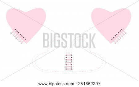 Spiral Bound Heart Shaped Notebook With Cute Feminine Design, Vector Mockup