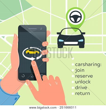 Car Sharing Service Concept. Carsharing Renting Car Mobile App. Hands Phone  Logo Template Rental Ca