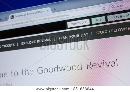 Ryazan, Russia - July 08, 2018: Goodwood.com Website On The Display Of Pc