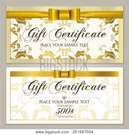 Gift Certificate Template (gift Voucher Layout, Coupon Template). Gift Card Design Example With Gold