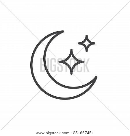 Moon Stars Outline Vector Photo Free Trial Bigstock