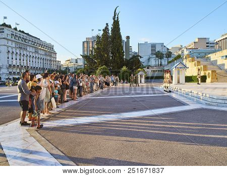 Athens, Greece - June 29, 2018. Tourists Attending The Change Of The Guard Of The Evzones, Soldiers