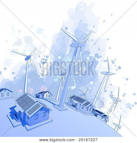 Ecology concept: wind-driven generators & houses with solar power systems. Bitmap copy my vector id
