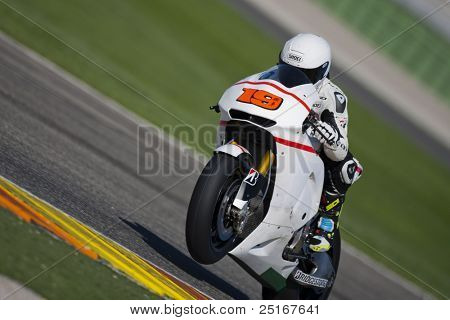 VALENCIA, SPAIN - NOVEMBER 9: Alvaro Bautista in the official motogp test with new 1.000cc engines, Ricardo Tormo Circuit of Cheste, Spain on november 9, 2011