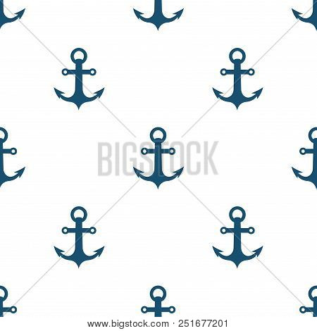 Marine Anchor Seamless Pattern Sea Fabric Background Vector Illustration. Nautical Texture With Navy