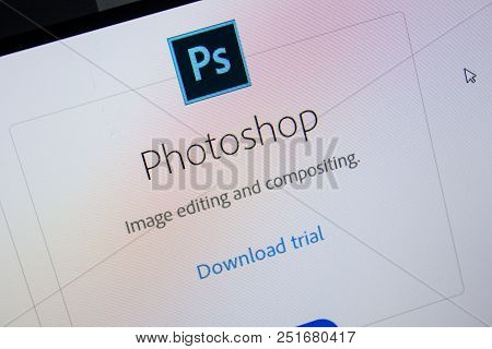 Ryazan, Russia - July 11, 2018: Adobe Photoshop, Software Logo On The Official Website Of Adobe