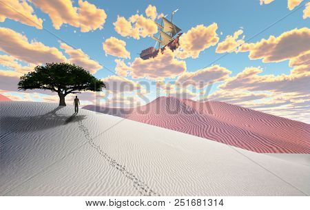 Surreal desert. Green tree on sand dune. Figure of man in a distance. Ancient ship in the cloudy sky. 3D rendering