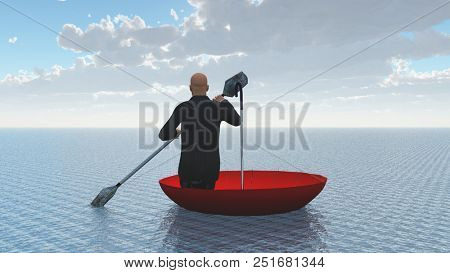 Surreal painting. Man floats in red umbrella. 3D rendering