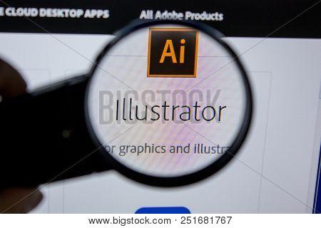 Ryazan, Russia - July 11, 2018: Adobe Illustrator, Software Logo On The Official Website Of Adobe