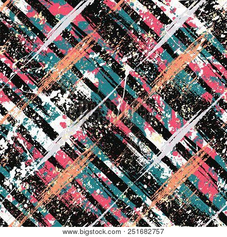 Vector Seamless Bold Plaid Pattern With Wild Crossing Brushstrokes And Thin Stripes, Hand Drawn In V