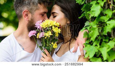 Man Bearded Hipster Kisses Girlfriend. Secret Romantic Kiss. Love Romantic Feelings. Moment Of Intim