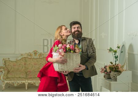 Valentines Day Concept. Pretty Woman Kiss Handsome Man With Flower Basket On Valentines Day. Sensual