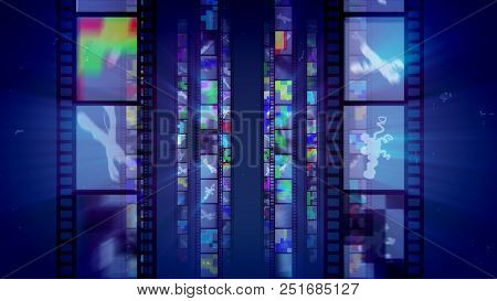Shining Retro Film Blue Backdrop