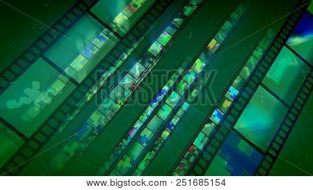 Shimmering Green Diagonal Film Tapes