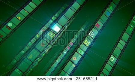 Inclined Khaki Retro Movie Stripes