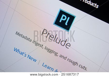 Ryazan, Russia - July 11, 2018: Adobe Prelude, Software Logo On The Official Website Of Adobe