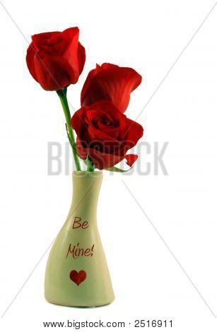 Red Roses In Be Mine Vase