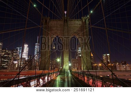 The Brooklyn Bridge From A Nice Perspective By Night, New Yok, United States Of America