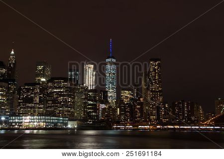 Skyline Of Downtown Manhattan By Night, New York, United States Of America