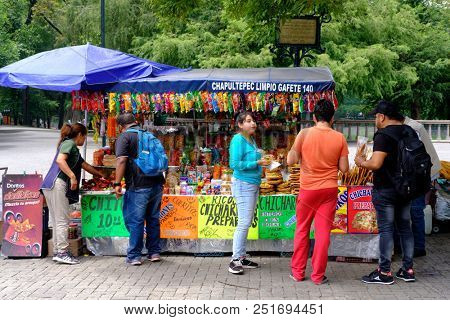 MEXICO CITY,MEXICO - JULY 11,2018 : Typical mexican street food for sale at the Chapultepec Park market in Mexico City