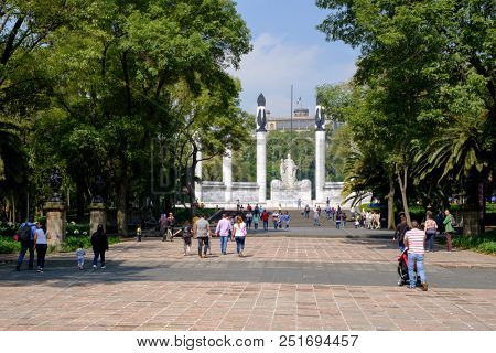 MEXICO CITY,MEXICO - JULY 11,2018 : Mexican families visiting the  Heroic Cadets Memorial at Chapultepec Park