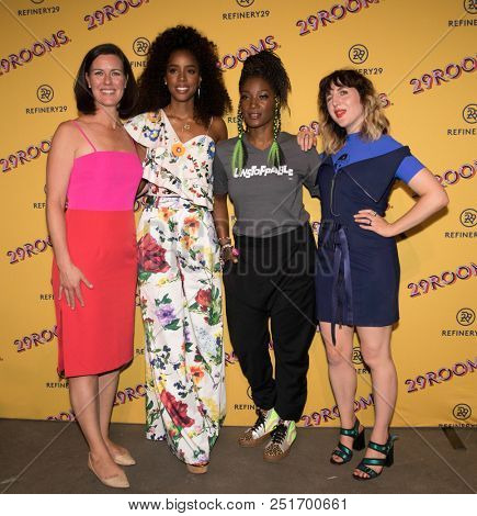 CHICAGO - JUL 25: (L-R) Sarah Personette, Kelly Rowland, Yolonda Ross and Piera Gelardi attend Refinery29's