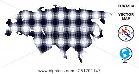 Pixelated Eurasia Map. Abstract Geographical Map. Points Have Rhombus Form And Dark Blue Color. Vect