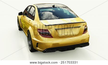Super Fast Sports Car Color Gold Metallic On A White Background. Body Shape Sedan. Tuning Is A Versi