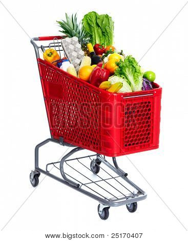 Grocery shopping cart with food. Isolated over white background.
