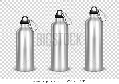 Vector Realistic 3d Different Size - Small, Medium, Large - Silver Empty Glossy Metal Water Bottle W