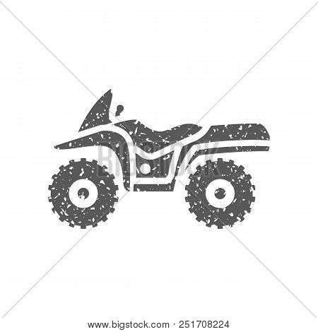 All Terrain Vehicle Icon In Grunge Texture. Vintage Style Vector Illustration.