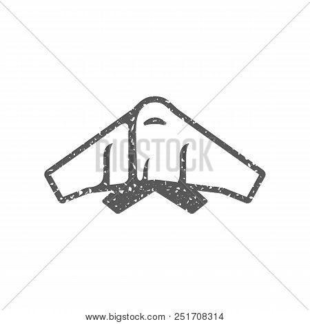 Stealth Bomber  Icon In Grunge Texture. Vintage Style Vector Illustration.