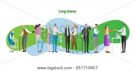 Long Queue Vector Illustration. People Crowd With Kid, Elder, Family Waiting In Line. Client And Ser