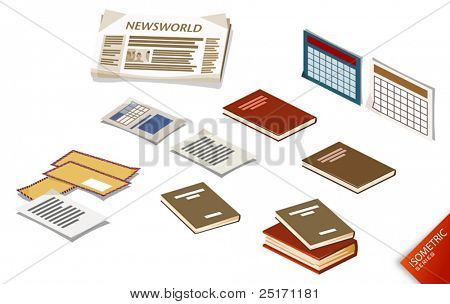 Scattered Documents on the Desk. Compose Your Own World Easily with Isometric Works.