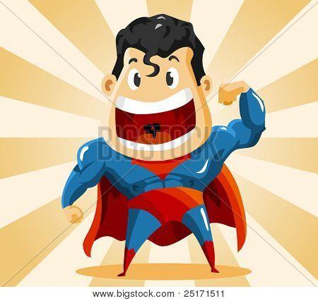 Strong Super Hero. Detailed vector Illustration.