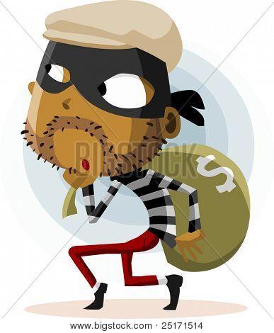 Criminal Thief Activity. Detailed vector Illustration.