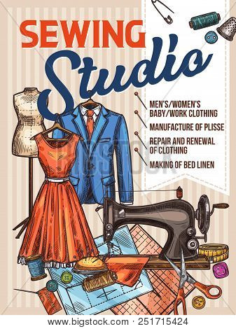 Atelier tailor or sewing studio retro sketch poster for dressmaker modiste salon. Vector deign of sewing machine, dress on dummy, scissors and tape measure, textile clothes, threads and needles poster