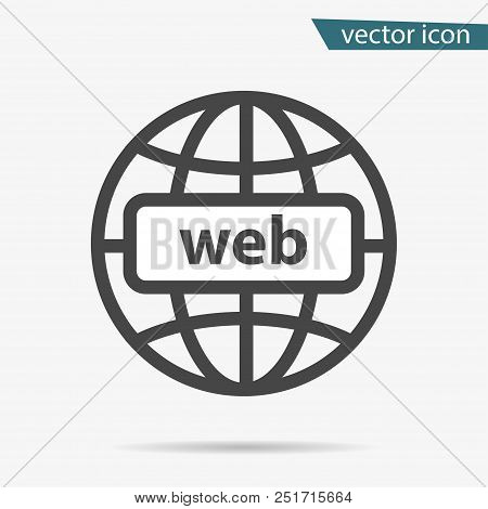 Gray Address Http Icon Isolated. Modern Simple Flat Globe Sign. Business Internet Concept. Trendy So
