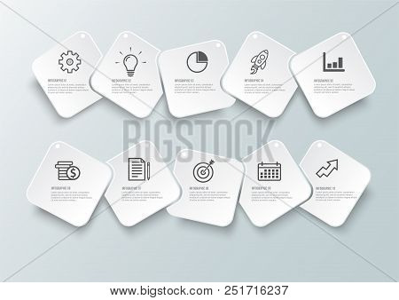 Vector Infographic Template With 3D Paper Label, Integrated Circles. Business Concept With 10 Option