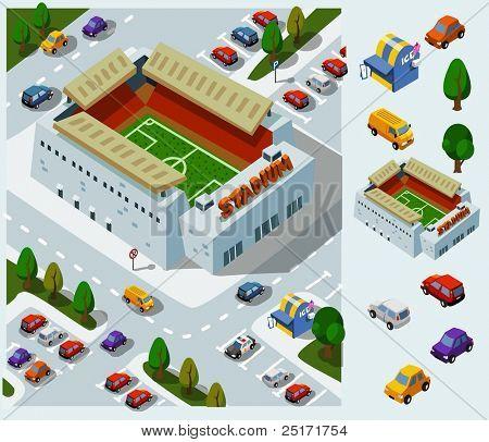Stadium of Soccer. Set of very detailed isometric vector