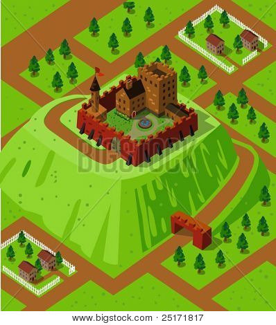 Castle on a countryside hill. Detailed isometric series