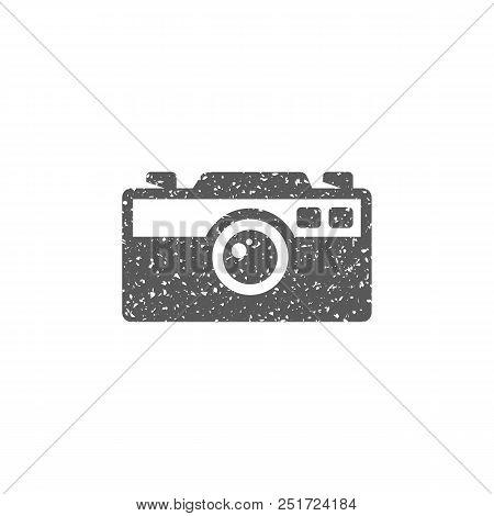 Range Finder Camera Icon In Grunge Texture. Vintage Style Vector Illustration.
