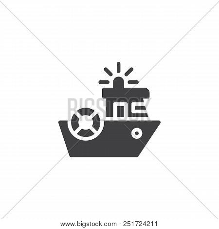 Coast Guard Vector Icon. Filled Flat Sign For Mobile Concept And Web Design. Coast Security Ship Sim