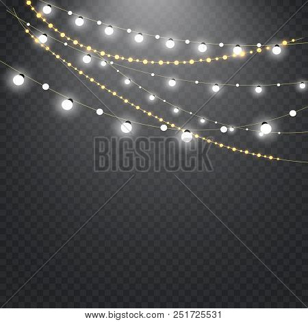 Christmas Lights Isolated On A Transparent Background. Christmas Glowing Garland.decoration For The