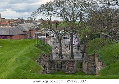 Berwick-upon-tweed, England - April 2018: The Remaining Historic Elizabethan Wall At Megs Mount Near