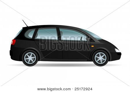 Vector illustration of a minivan, family car. Original design, no brand.