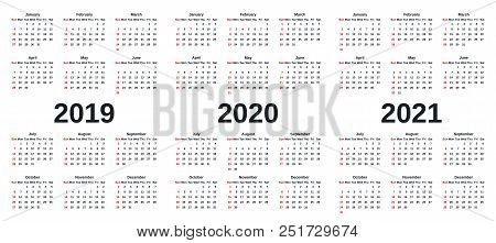 2019, 2020, 2021 Calendar. Vector Graphics. Week Starts Sunday. Design Stationery Template With Mont