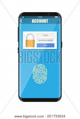 Smartphone Unlocked By Fingerprint Sensor. Mobile Phone Security, Personal Access Via Finger, Login