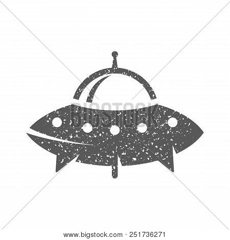Flying Saucer Icon In Grunge Texture. Vintage Style Vector Illustration.